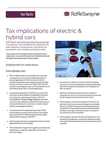 tax implications of electric & hybrid cars thumbnail